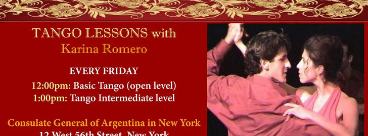 Free Tango Classes with Karina Romero  at NY Argentine Consulate