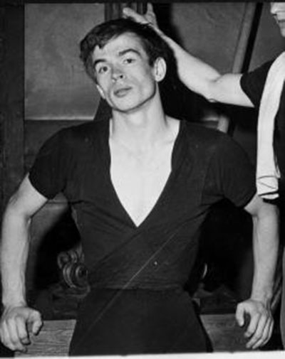 Press photo of Rudolf Nureyev at his defection from Soviet Union 1961.