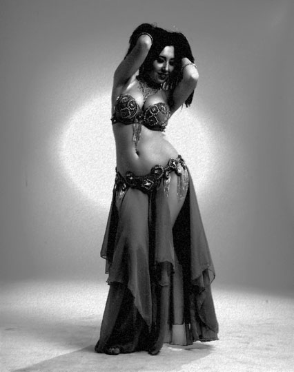 Belly dance:  sharp and quick bumps with the hips, hip movements