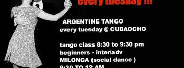 TANGO CLASS AND MILONGA at  CUBAOCHO 1465 SW 8th Street Suite 106-107 . Miami Fl